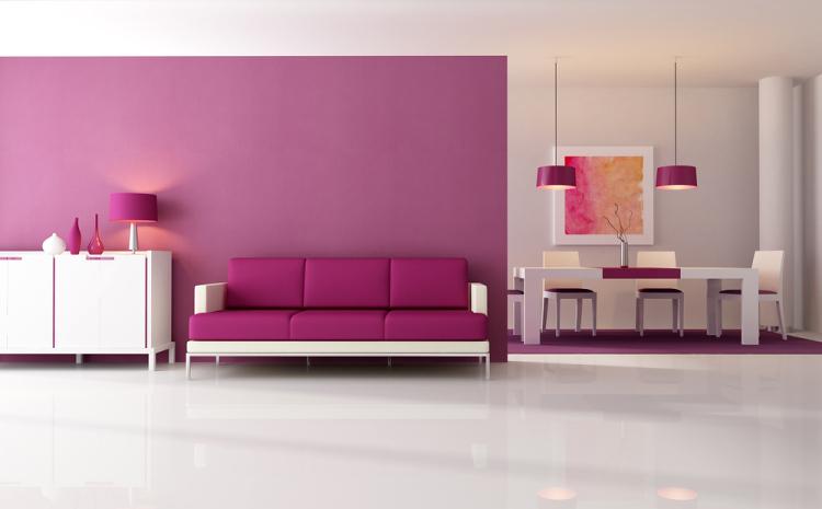 fialová barva v interiéru