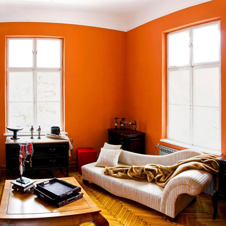 oranžová barva v interiéru